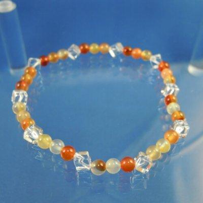 画像2: オレンジカルセドニーと水晶スクエアカットのパワーストーンブレスレット 明るく楽しいエネルギーを届ける