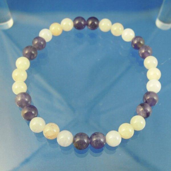 画像1: アメジストとモルガナイトのパワーストーンブレスレット 心に癒しのエネルギーを届け、愛のセンターを浄化していく (1)